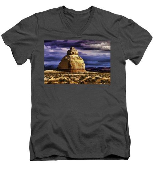 Men's V-Neck T-Shirt featuring the painting Church Rock  by Muhie Kanawati