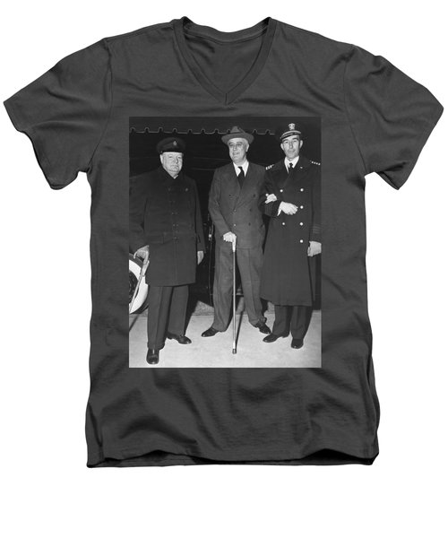 Churchill And Roosevelt Men's V-Neck T-Shirt by Underwood Archives