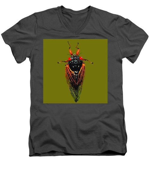 Cicada In Green Men's V-Neck T-Shirt