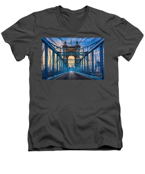 Cincinnati Suspension Bridge Men's V-Neck T-Shirt