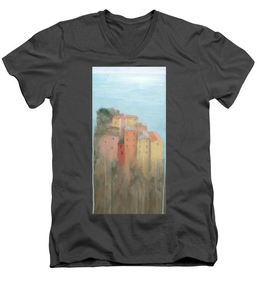 Cinque Terre Men's V-Neck T-Shirt by Steve Mitchell
