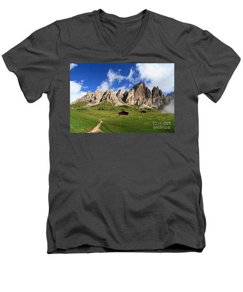 Men's V-Neck T-Shirt featuring the photograph Cir Group - Gardena Pass by Antonio Scarpi