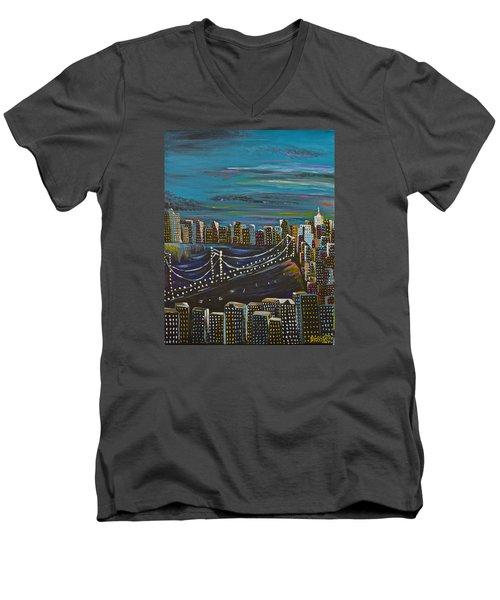 Citiscape Men's V-Neck T-Shirt by Donna Blossom