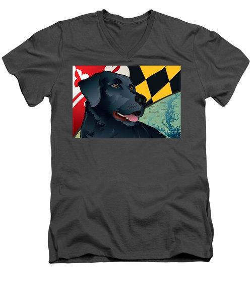 Maryland Black Lab Men's V-Neck T-Shirt