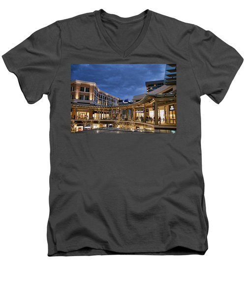 Men's V-Neck T-Shirt featuring the photograph City Creek by Ely Arsha