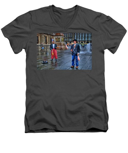 Men's V-Neck T-Shirt featuring the photograph City Jugglers by Ron Shoshani