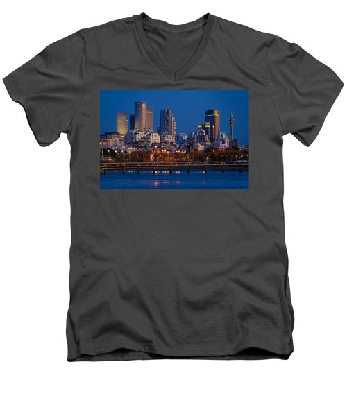city lights and blue hour at Tel Aviv Men's V-Neck T-Shirt