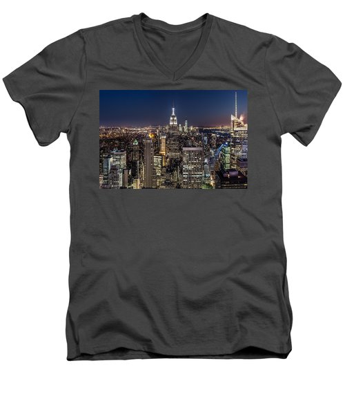 Men's V-Neck T-Shirt featuring the photograph City Lights by Mihai Andritoiu
