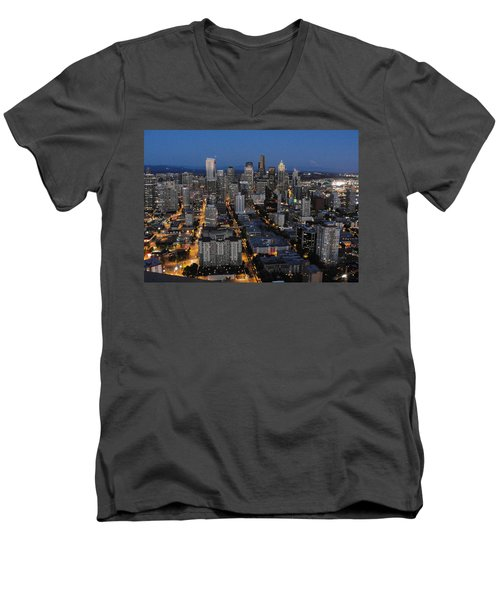 Men's V-Neck T-Shirt featuring the photograph City Lights by Natalie Ortiz