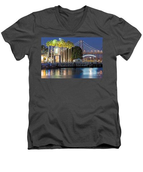 City Lights On Mission Bay Men's V-Neck T-Shirt