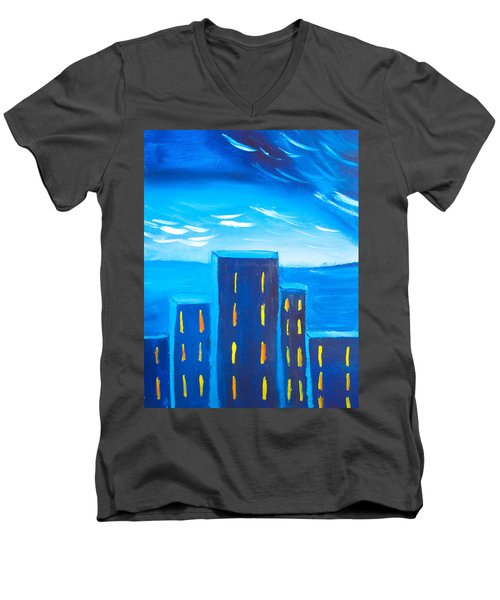 City Men's V-Neck T-Shirt by Joshua Maddison