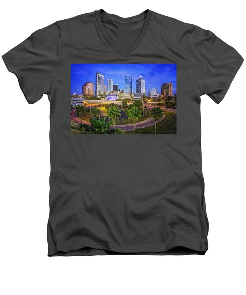 City Of Tampa At Dawn In Hdr Men's V-Neck T-Shirt