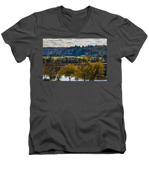 Clarksville Railroad Bridge Men's V-Neck T-Shirt