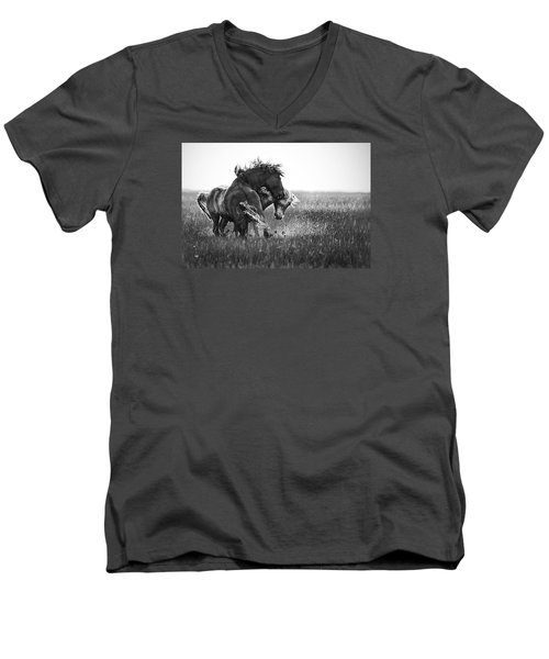 Men's V-Neck T-Shirt featuring the photograph Clash Of Two Wild Stallions by Bob Decker