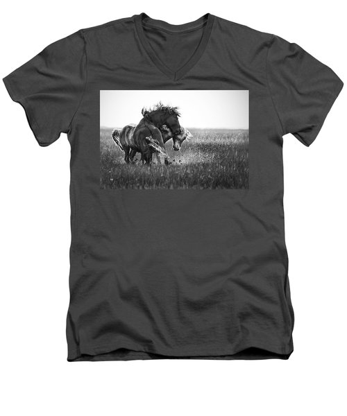 Clash Of Two Wild Stallions Men's V-Neck T-Shirt