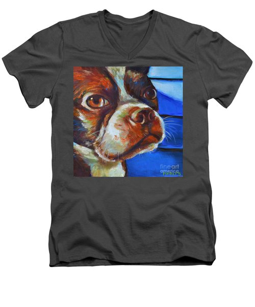 Men's V-Neck T-Shirt featuring the painting Classy Hank by Robert Phelps