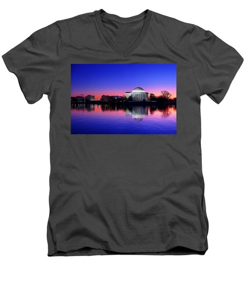 Clear Blue Morning At The Jefferson Memorial Men's V-Neck T-Shirt