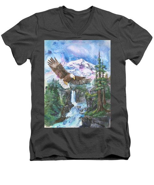 Men's V-Neck T-Shirt featuring the painting Cleared For Landing Mount Baker by Sherry Shipley