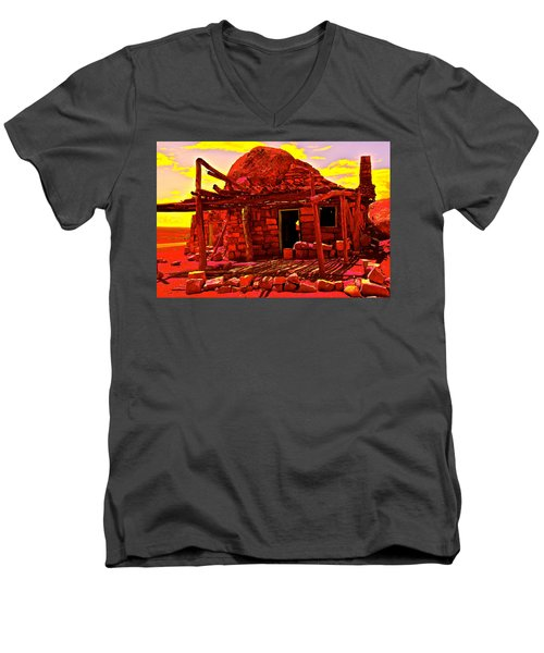 Cliff Dwellers In Red Men's V-Neck T-Shirt
