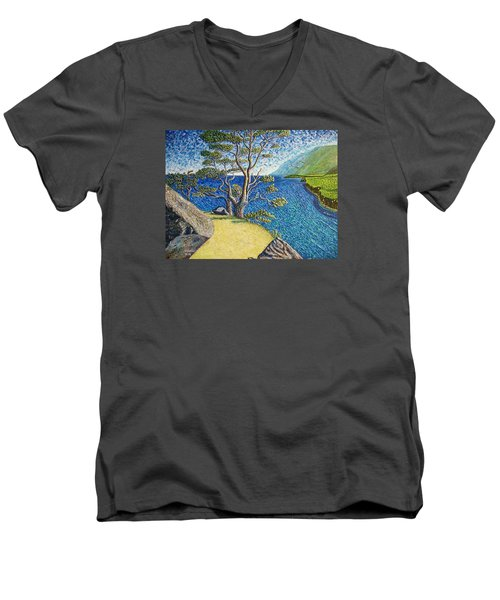 Men's V-Neck T-Shirt featuring the painting Cliff by Viktor Lazarev
