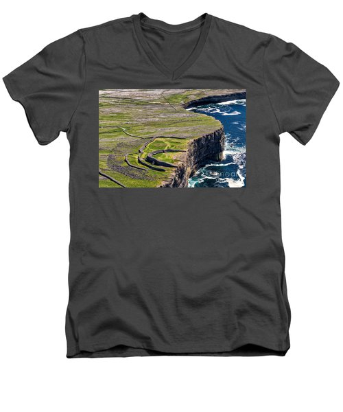 Men's V-Neck T-Shirt featuring the photograph Cliffs Of Inishmoore by Juergen Klust