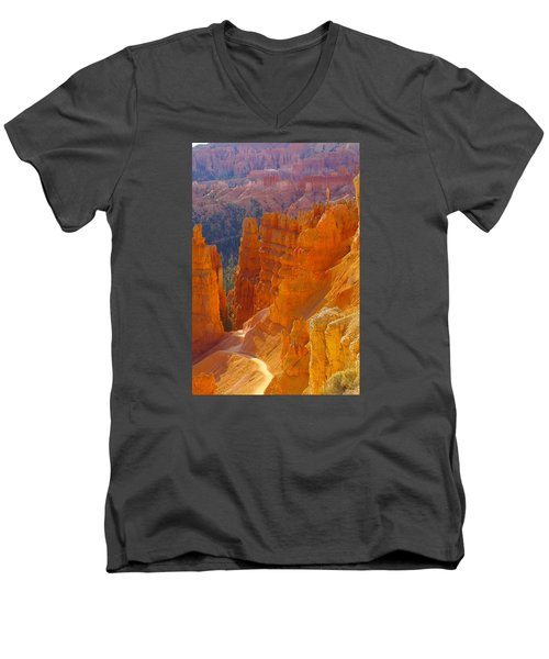 climbing out of the Canyon Men's V-Neck T-Shirt by Jeff Swan