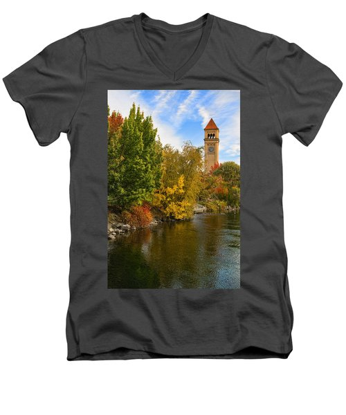 Clocktower In Fall Men's V-Neck T-Shirt