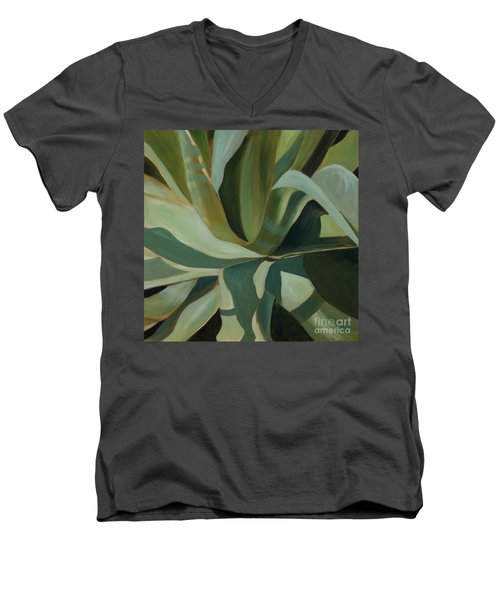 Close Cactus Men's V-Neck T-Shirt by Debbie Hart