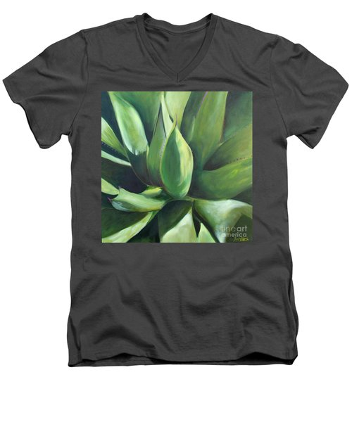 Close Cactus II - Agave Men's V-Neck T-Shirt by Debbie Hart