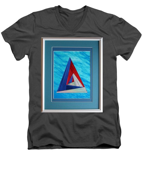 Men's V-Neck T-Shirt featuring the mixed media Close Encounter by Ron Davidson