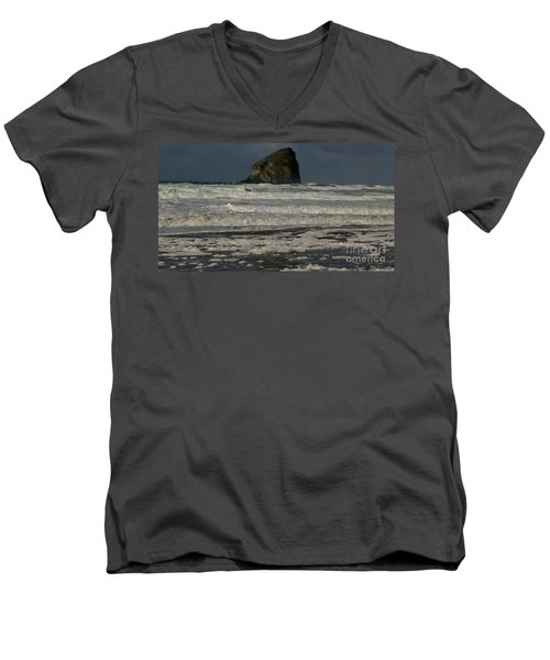 Men's V-Neck T-Shirt featuring the photograph Close Haystack Rock by Susan Garren