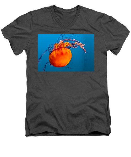 Men's V-Neck T-Shirt featuring the photograph Close Up Of A Sea Nettle Jellyfis by Eti Reid