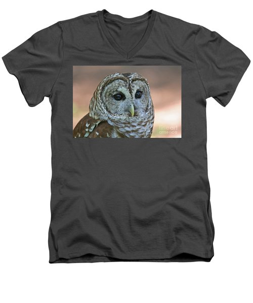 Closeup Of A Barred Owl  Men's V-Neck T-Shirt