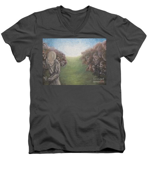 Men's V-Neck T-Shirt featuring the painting Closure by Michael  TMAD Finney