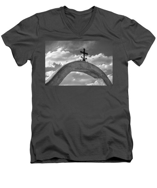 Men's V-Neck T-Shirt featuring the photograph Cloud Cross by Steven Bateson