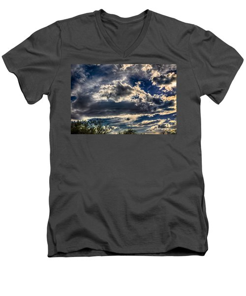 Men's V-Neck T-Shirt featuring the photograph Cloud Drama by Mark Myhaver