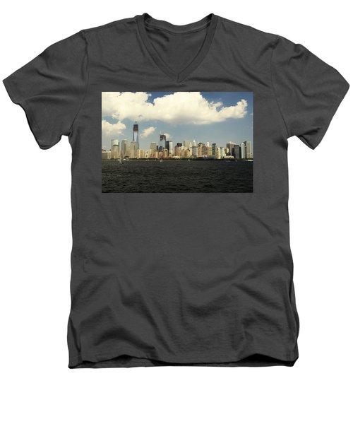 Clouds Over New York Skyline Men's V-Neck T-Shirt