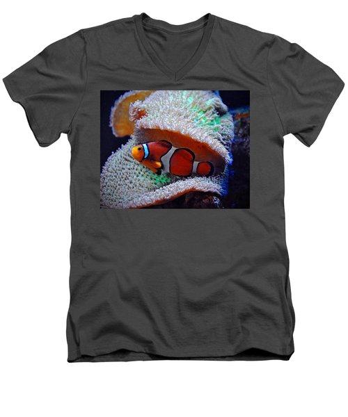 Men's V-Neck T-Shirt featuring the photograph Clown Fish by Savannah Gibbs