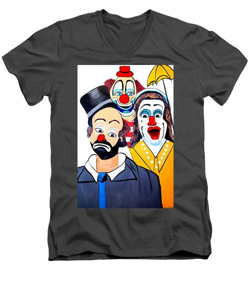 Men's V-Neck T-Shirt featuring the painting Clowns In Shock by Nora Shepley