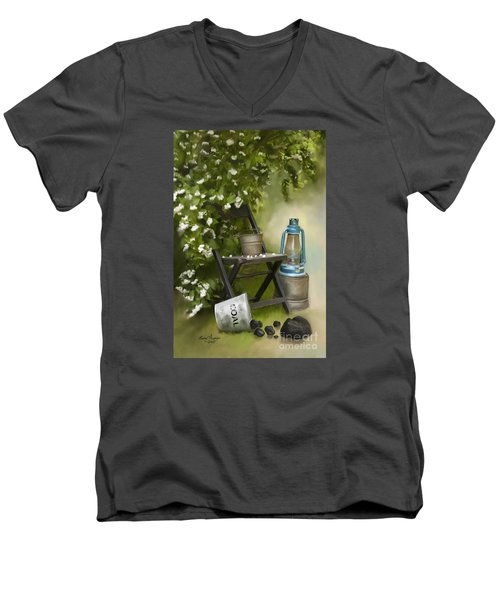 Coal Men's V-Neck T-Shirt by Lena Auxier