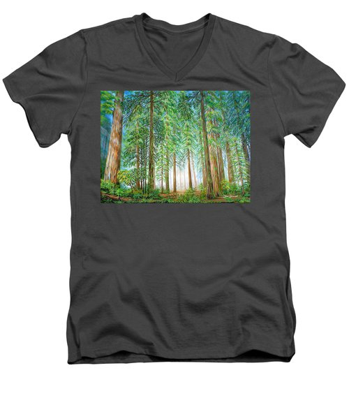 Coastal Redwoods Men's V-Neck T-Shirt by Jane Girardot