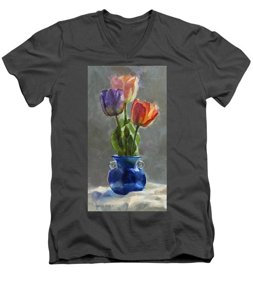Cobalt And Tulips Still Life Painting Men's V-Neck T-Shirt