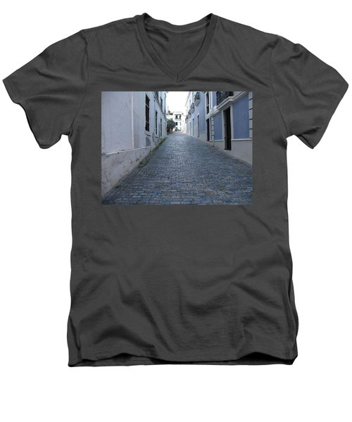 Men's V-Neck T-Shirt featuring the photograph Cobble Street by David S Reynolds