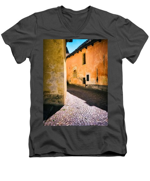 Men's V-Neck T-Shirt featuring the photograph Cobbled Street by Silvia Ganora