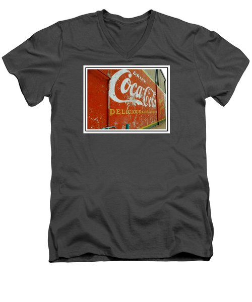 Coca-cola On The Army Store Wall Men's V-Neck T-Shirt by Kathy Barney