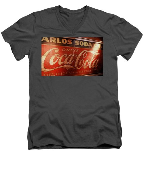 Men's V-Neck T-Shirt featuring the photograph Coca Cola Sign by Rodney Lee Williams