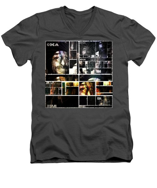 Men's V-Neck T-Shirt featuring the photograph Coca In Part 5 Collage  by Sir Josef - Social Critic - ART
