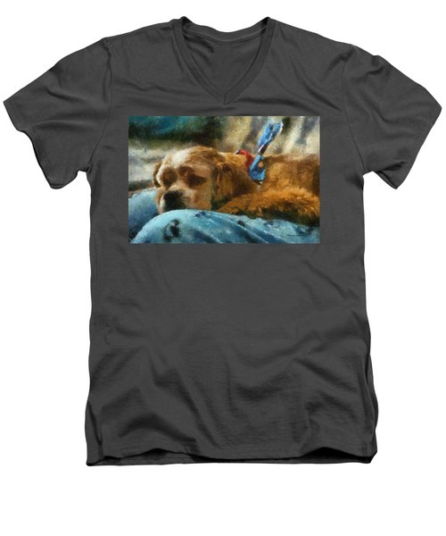 Cocker Spaniel Photo Art 07 Men's V-Neck T-Shirt by Thomas Woolworth