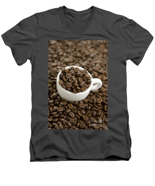 Men's V-Neck T-Shirt featuring the photograph Coffe Beans And Coffee Cup by Lee Avison
