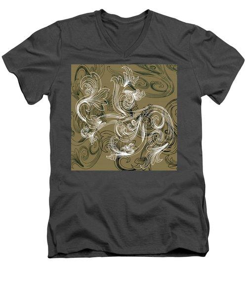 Coffee Flowers 2 Olive Men's V-Neck T-Shirt